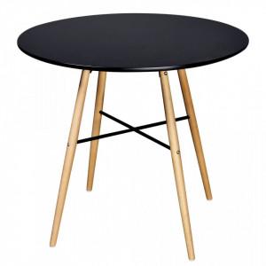 Masa de bucatarie rotunda, MDF, negru - V241304V