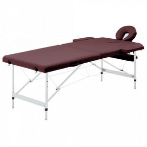 Masa de masaj pliabila, 2 zone, violet, aluminiu - V110195V