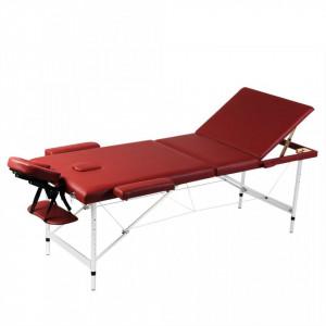 Masa de masaj pliabila 3 parti cadru din aluminiu Rosu - V110091V