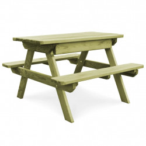 Masa de picnic cu banci, 90 x 90 x 58 cm, lemn de pin tratat - V45148V