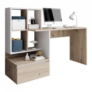 Masă PC, stejar artisan/alb mat, NEREO