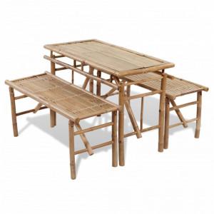 Masa pentru bere cu 2 banci, 100 cm, bambus - V41502V
