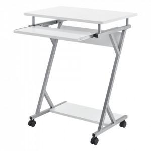 Masa pentru calculator AACT-7902, 60 x 40 x 75 cm, PAL/otel sinterizat, alb - P57909593