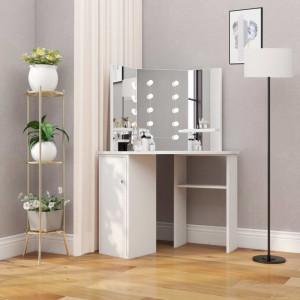Masa pentru machiaj de colt cu lumini LED, alb - V288450V