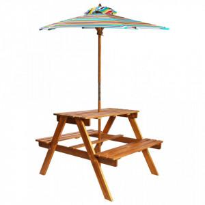 Masa picnic pentru copii cu umbrela, 79x90x60 cm, lemn acacia - V43990V