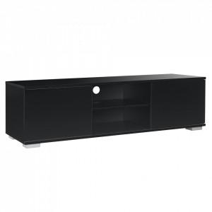 Masa TV AASB-70XX, Model 2, 34,5cm x 120cm x 40cm, MDF, negru lucios - P57582158