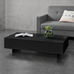 Masuta de cafea Ozana, 115 x 55 x 31 cm, PAL melaminat, negru lucios - P69102691
