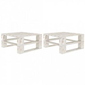 Mese din paleti pentru gradina, 2 buc., alb, lemn - V49336V