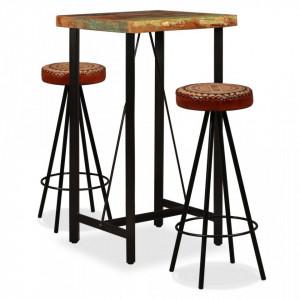 Mobilier bar 3 piese lemn masiv reciclat, piele naturala, panza - V275141V
