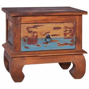 Noptiera, 45x35x40 cm, lemn de tec reciclat - V289056V