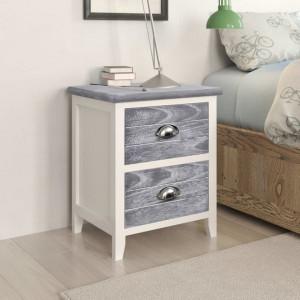 Noptiera, gri si alb, 38 x 28 x 45 cm, lemn de paulownia - V284047V