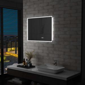 Oglinda cu LED de baie cu senzor tactil si afisaj ora, 80x60 cm - V144738V