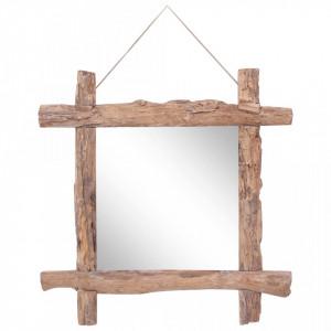 Oglinda din busteni, natural, 70 x 70 cm, lemn masiv reciclat - V283934V