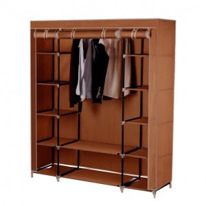 Organizator de garderobă, material textil/metal, maro, METIN VNW15