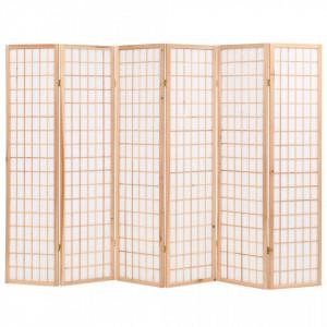 Paravan pliabil 6 panouri, stil japonez, 240x170 cm, Natural - V245904V