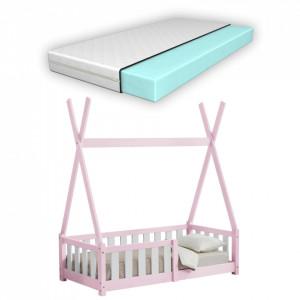 Pat copii cu saltea spuma rece Cristal, 70x140 cm, lemn de brad, roz, mat lacuit, + 2 ani, cu saltea si grilaj - P67666362