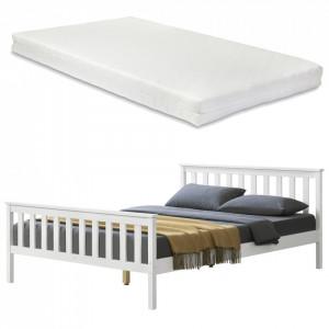 Pat lemn Opal cu saltea spuma rece, 208 x 148 x 82 cm, lemn/poliester, alb, pentru 2 persoane - P65537507