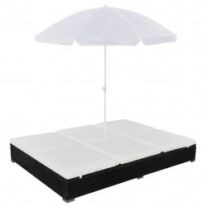 Pat sezlong de exterior cu umbrela, negru, poliratan - V42950V