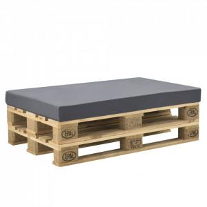 Perna decorativa/burete cu husa pentru mobilier paleti HTSK-2206, 120 x 80 x 10 cm, 67% PVC / 33% Polietilena, gri inchis - P58673328