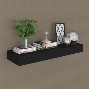 Raft de perete suspendat cu sertar, negru, 80 x 25 x 8 cm - V288206V