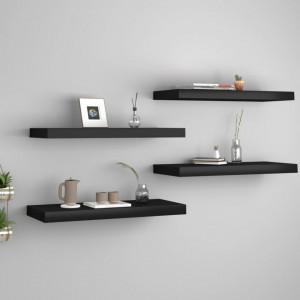 Rafturi de perete, 4 buc., negru, 60 x 23,5 x 3,8 cm, MDF - V323834V