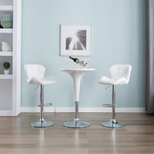 Scaun de bar, alb, piele ecologica - V249671V