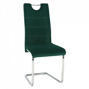 Scaun de luat masa, ţesătură de catifea smarald / cusături deschise, ABIRA NEW