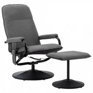 Scaun de masaj rabatabil cu taburet, gri deschis, material textil - V289856V