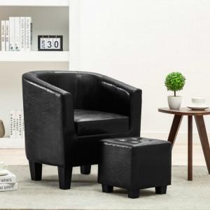 Scaun fotoliu cu taburet, negru, piele ecologica - V248057V