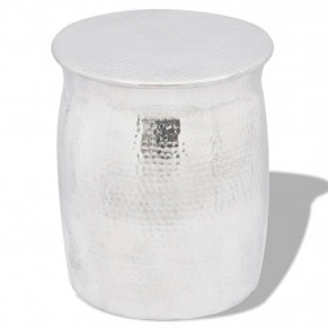 Scaun/Masa laterala din aluminiu batut la ciocan, argintiu - V242324V