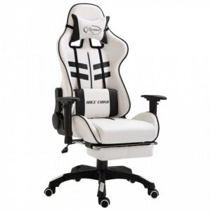 Scaun pentru jocuri, suport picioare, negru, piele ecologica - V20227V