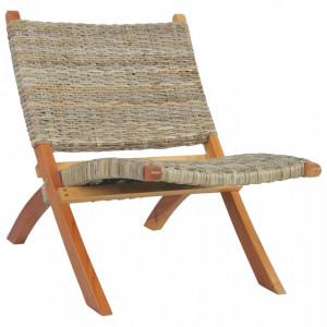 Scaun relaxare, natural, ratan kubu si lemn masiv de mahon - V285803V