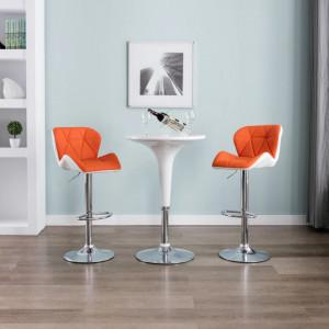 Scaune de bar, 2 buc., portocaliu, piele ecologica - V249687V