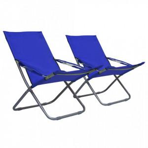 Scaune de plaja pliante, 2 buc., albastru, material textil - V47902V