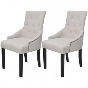 Scaune de sufragerie, 2 buc., gri crem, material textil - V242402V