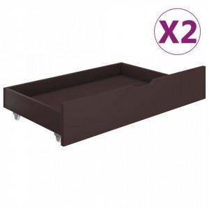 Sertare de pat, 2 buc., maro inchis, lemn masiv de pin - V321988V