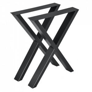 Set 2 bucati picioare masa in forma X, 59 x 72 cm, metal, negru - P57353528