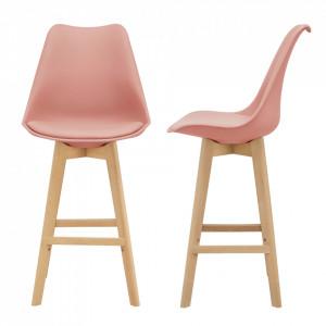 Set 2 bucati scaun bar Adela, 105 x 48 x 58 cm, plastic/imitatie piele, lemn de fag, roz - P67291239