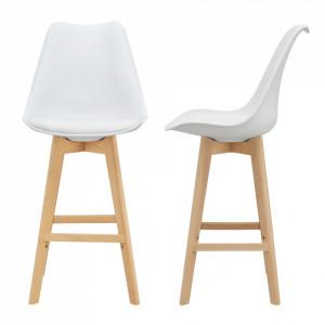 Set 2 bucati scaun bar Adela, 105 x 48 x 58 cm, plastic/imitatie piele, lemn de fag, alb - P67291235