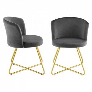 Set 2 bucati scaune bucatarie Verdal, 79 x 40 x 40 cm, catifea/otel, negru/auriu - P73254330