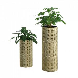 Set 2 bucati suport flori Luttich, metal, auriu/negru, masuri diferite - P73583783