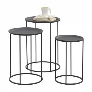 Set 3 masute Elvetia, masuri diferite, metal, negru, rotund, design permanent - P65862389