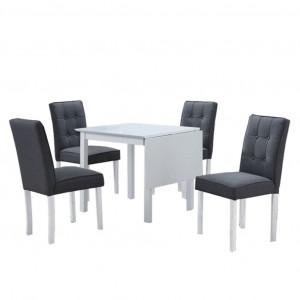 Set dining cu masă pliabilă, alb / gri, BJORK NEW 1+5
