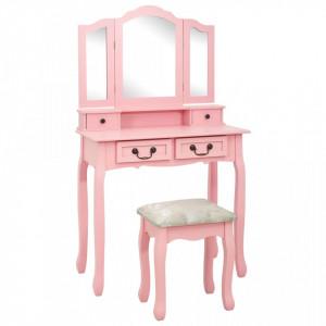 Set masa de toaleta cu taburet roz 80x69x141 cm lemn paulownia - V289319V