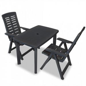 Set mobilier bistro, 3 piese, antracit, plastic - V275083V