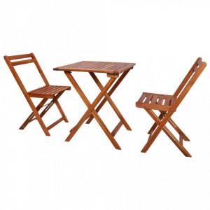 Set mobilier bistro pliabil, 3 piese, lemn masiv de acacia - V44015V