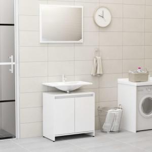Set mobilier de baie, alb extralucios, PAL - V802657V