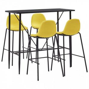 Set mobilier de bar, 5 piese, galben, material textil - V279871V