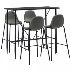 Set mobilier de bar, 5 piese, gri taupe, material textil - V279872V