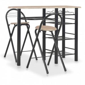 Set mobilier de bar, cu rafturi, 3 piese, lemn si otel - V284402V